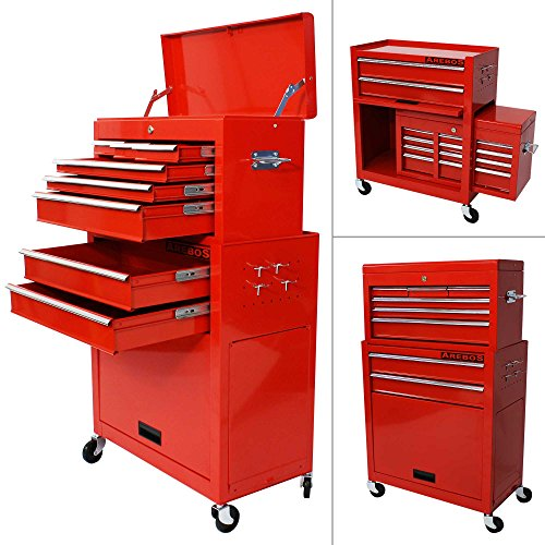 Arebos Werkstattwagen 9 Fächer rot ( zentral abschließbar,  Abnehmbarer Werkzuegkasten ,  Räder...