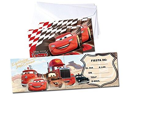 Cars-6Invitations avec enveloppes Verbetena 014000636