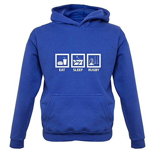 Eat Sleep Rugby - Kinder Hoodie/Kapuzenpullover - Royalblau - L (7-8 Jahre) (Rugby-shirts Kleinkinder)
