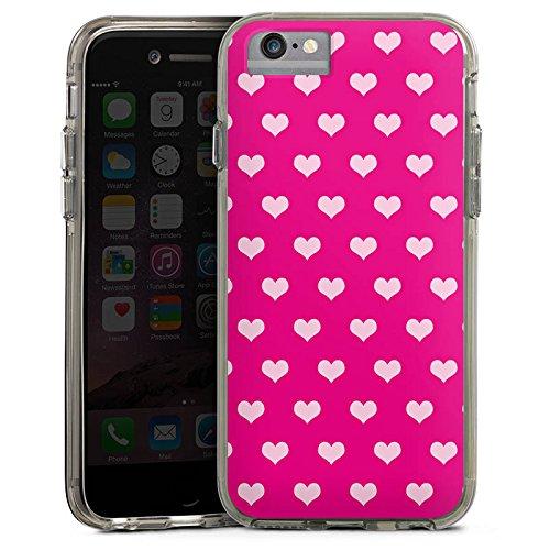 Apple iPhone 8 Bumper Hülle Bumper Case Glitzer Hülle Polka Herzchen Pattern Muster Bumper Case transparent grau