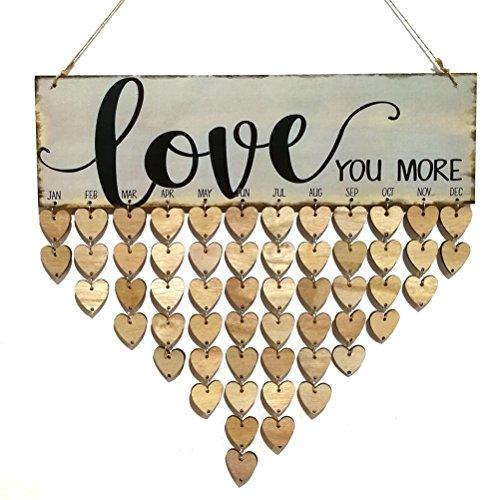 VORCOOL Birthday Board, Tafel, zum Aufhängen, mit Herzen, aus Holz, 50Stück (Tafel Birthday Schild)