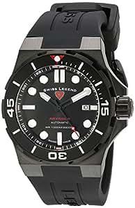 Swiss Legend Abyssos Homme 46mm Bracelet Silicone Noir Automatique Date Montre 10062A-BB-01-BLK-SM-RDB