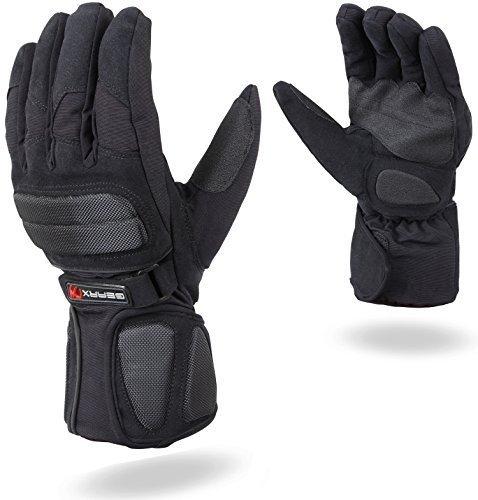 Dreifachschutz Motorrad Handschuhe Wasserdicht Thermo Gepolstert Schutz - Schwarz, XXL