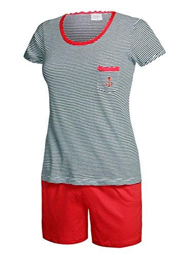 Schlafanzug kurz Damen Pyjama kurz Damen Nachthemd kurz aus 100% Baumwolle softweich Gr L/44-46