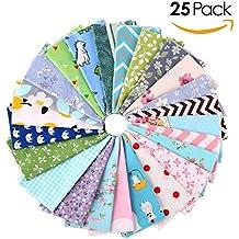 FEMOR Set de 25pcs de Telas de Algodón para Bricolaje Tela Cuadrada de Algodón para Costura para Artesanos Hecho a Mano 25 Patrones 30*30cm