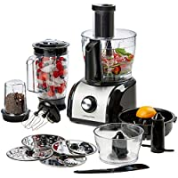 Andrew James Multifunctional 800W Food Processor - Over 10 Different Attachments Including Slicer Discs 1.5L Blender Jug Citrus Juicer Coffee and Nut Grinder Electric Whisk and Mini Processor Bowl