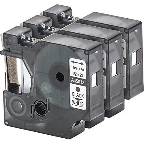 3x Cartucho para impresión de etiquetas compatible con Dymo 45013 D1 en negro sobre blanco 12 mm x 7 m para la LabelManager LabelPoint LabelWriter por ejemplo, para DYMO LabelPOINT & LabelManager LM100 / LM120P / LM150 / LM160 / LMPC2 / LM200 / LM210D / LM220P / LM260 / LM280 / LM300 / LM350 / LM400 / LM260P / LM350D / LM360D / LM420P / LM450 / LP350 / LP100 / LP150 / LP200 / LP250 / LP300 / PC / PC2 / PnP / PnP WiFi / LW400 / LW450 Duo / Pocket 1000 / 1000Plus / 2000 / 3500 / 5000 / 5500