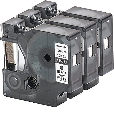 3x Cassette de ruban à étiqueter avec Dymo 45013 D1 en noir sur blanc 12mm x 7m pour LabelManager LabelPoint LabelWriter par exemple, pour DYMO LabelPOINT & LabelManager LM100 / LM120P / LM150 / LM160 / LMPC2 / LM200 / LM210D / LM220P / LM260 / LM280 / LM300 / LM350 / LM400 / LM260P / LM350D / LM360D / LM420P / LM450 / LP350 / LP100 / LP150 / LP200 / LP250 / LP300 / PC / PC2 / PnP / PnP WiFi / LW400 / LW450 Duo