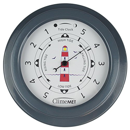climemet-cm4520-tide-clock-with-new-red-lighthouse-design-slate-grey
