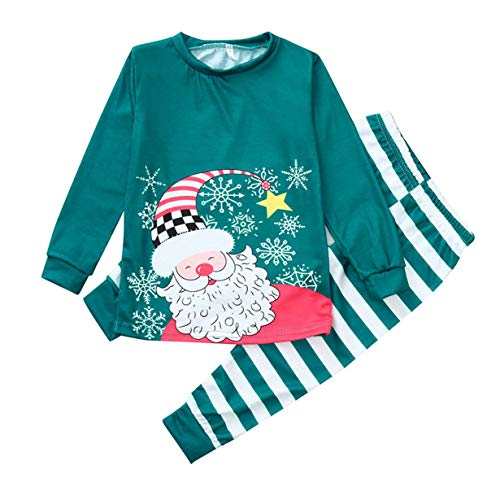 FEKETEUKI 952 Family Christmas Pyjamas Family Matching Outfit Vater Mutter Tochter Mädchen Junge Kleidung Sets Pyjamas Family Look-Green-XL - Green Christmas Pyjama