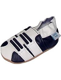 Chaussures de bébé en cuir souple Design de sport de couleur blanche et bleu, Dotty Fish garçons