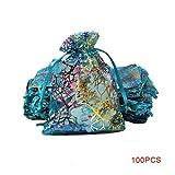 Demino 100pcs Coral Stampa Coulisse Sacchetti di Seta del Regalo del Organza Pouch Borse Snack Cookies Bottiglia Caramelle Gioielli di stoccaggio Blu 3