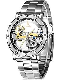 Alienwork IK Reloj Automático esqueleto mecánico relojes hombre Tourbilon-Style Diseño Acero inoxidable plata 98399G-MS-M