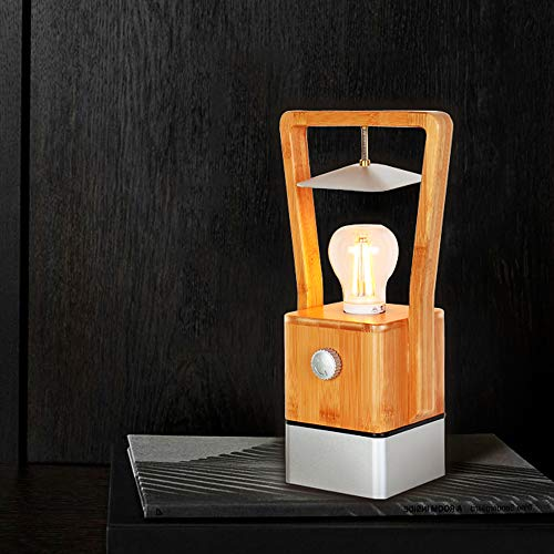 ZMH LED Tischleuchte aus Holz 4W dimmbar Tischlampe Schreibtischlampe Warmweiß Licht 2200K mit USB Ladefunktion Nachttischlampe LED Notfallleuchte Campinglampe