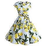 YAMEE Femme Ete Robe de Soiree Robe de Mariage Retro Cocktail Elegant Pin Up 50's 60's Rockabilly Swing Party Robe Grande Taille, 919 Citron, Medium