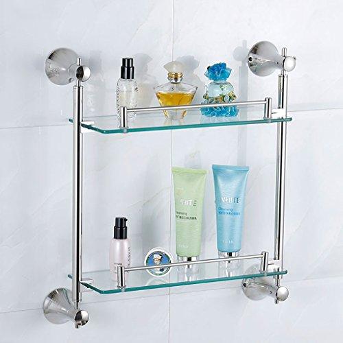 TIAMO Badezimmer-Glas-Regal-Edelstahl-Tuch-Regal-Regal-Badezimmer-Regal-doppelte Glaswand (430 * 450mm)