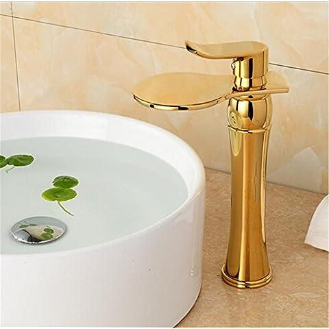 Modylee Baño oro alta cascada baño grifo lavabo fregadero grifo cascada grifo mezclador Vintage agua grifo oro tap