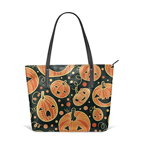 alloween-Kürbis-Muster, Leder-Tragetasche, Schultertasche, tragbare Aufbewahrung, Handtaschen, praktische Einkaufstasche ()