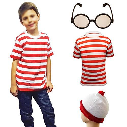 Janisramone Jungs Mädchen Neu Kinder Rot Weiß Streifen Wally Kostüm Waldo Wenda Kind Karikatur Buch Woche Tag Fancy Kleid Outfit