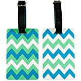 Shacke Luggage Tags with Genuine Leather Strap (Chevron Turquoise)