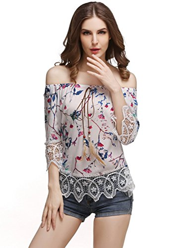 Azbro Women's off Shoulder Lace Trim Floral Printed Blouse Rosy