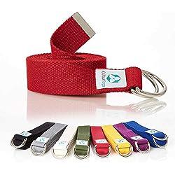 #DoYourYoga Cinturón de Yoga »Madira« / Correa para Yoga de algodón 100% con un Cierre Estable en Forma de Anillas metálicas / 250 x 3,8 cm/Rojo