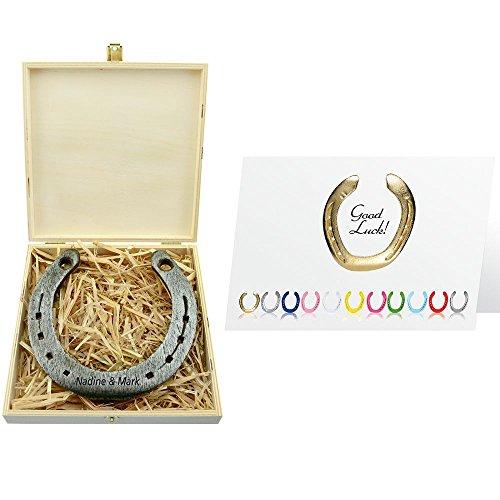 4you Design Hufeisen mit Gravur - echtes Glückshufeisen - optional mit Gravur - personalisiert - Geschenkidee für Frauen & Männer (Natur)