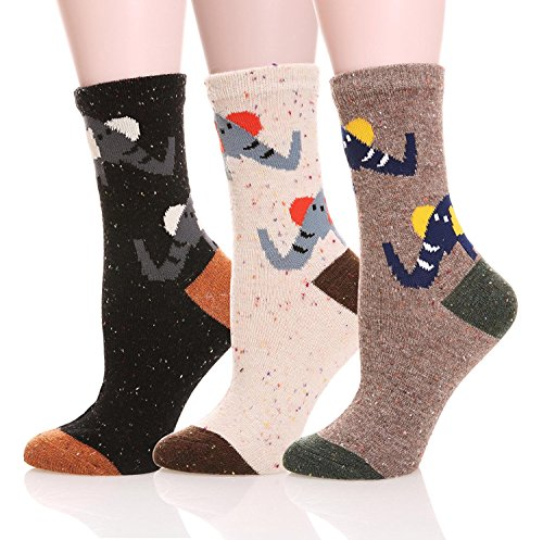 LJ Sport Tiere Design Socken Damen Mädchen Wolle Socken Soft Casual Socken 3 Paar Packung (Elephant) - Polka Dot Kinder Socken
