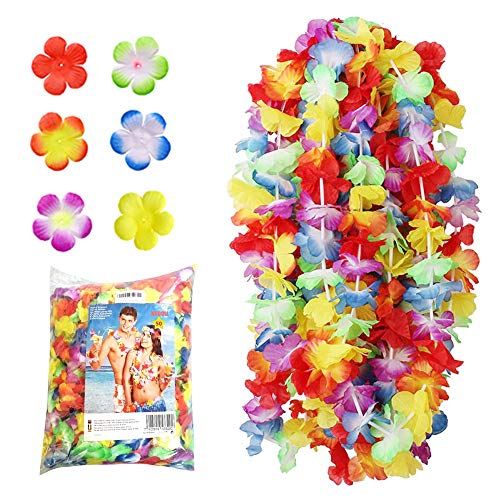NNDOLL 50 Stück Hawaiianische Kränze Tropische Blumen Lei Party Mehrfarben Tasche - Hawaii Blumenketten Girlanden ()