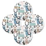 Hunihuni, tovaglietta rotonda con animali etnici, lama alpaca antiscivolo, resistente al calore, tovaglietta circolare per tavolo da pranzo, 1 pezzo, Poliestere, multicolore, 15.4x15.4inx4
