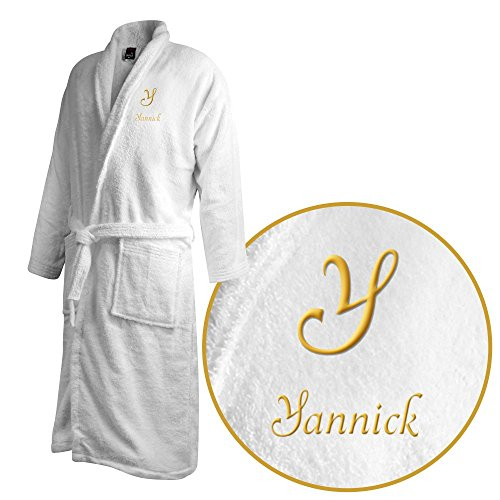 Bademantel mit Namen Yannick bestickt - Initialien und Name als Monogramm-Stick - Größe wählen White