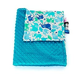 75cm x 100cm, Turquoise + Elephants: 1buy3 MINKY lined baby blanket |plush blanket |play rug |cuddle blanket 75 x 100 cm (Turquoise + Elephants)