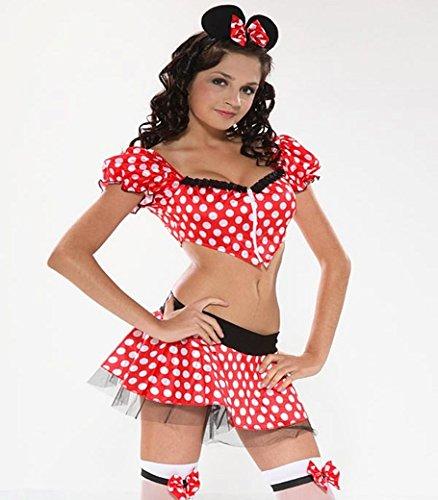 Mädchen Teenager Mini Kostüm Maus Mouse Bauchfrei Gr. -