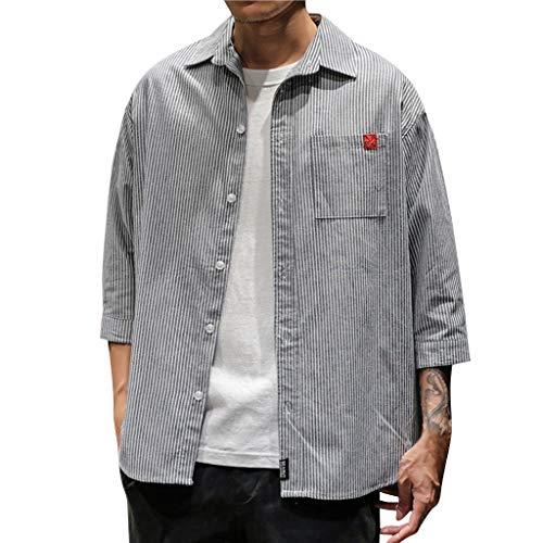 Sumeiwilly Herren Hemd 3/4 Ärmellänge Kurzarm Freizeithemd Retro Leinenhemd Übergröße Streifen Sommerhemd Regular Fit (6 23 Jordan 17)