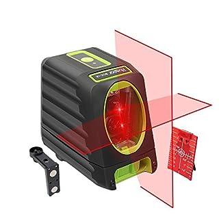 Huepar Self-leveling Alignment Line Laser, Red Laser Level BOX-1R 30m Cross Line Laser, Selectable Vertical & Horizontal Laser Beam, with Full Soft Rubber Covered, Flexible Magnetic Mount Base