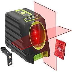 Huepar BOX-1R Niveau Laser Croix Rouge, Ligne Laser Auto-nivellement avec Mode Pulsé Extérieur, Commutable Laser Ligne H130°/ V150°Angle de couverture, Distance de Travail 25m, Base Magnétique Incluse