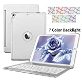 Ipad Air 2 Keyboard Case,Dingrich Laptop Stylish Ultra Slim Wireless Bluetooth Keyboard Cover with 7 Colors Backlight Comfortable Keys Bluetooth Folio Keyboard Case Flip Smart Cover Aluminum Apple Ipa (Sliver)