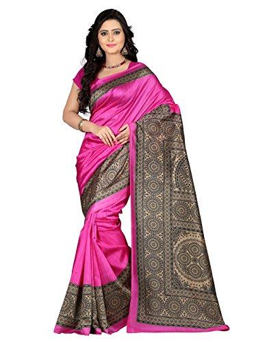 e-VASTRAM Women\'s Art Mysore Printed Silk(NS5D_Pink)