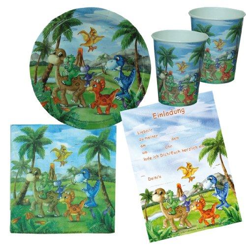 Dinosaurio Partito dinoparty 68Niños Fiesta de cumpleaños con 12children-plates, 12unidades 12vasos de papel, 20servilletas, 12invitaciones Primeval Note T-Rex Tema