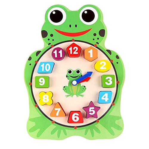 Gobus Animal Cute Wooden Shape Teaching Watches number Color Geometric Shape Making Game Building Blocks Watch Toy for small children (Frog Clock)