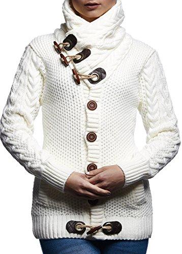 LEIF NELSON Damen Strickjacke Jacke Pullover Hoodie Langarm Shirt Sweatjacke Sweater Schalkragen Strick LN4195D; Größe S, Weiss/Beige (Strickjacken-weste Damen Pullover)