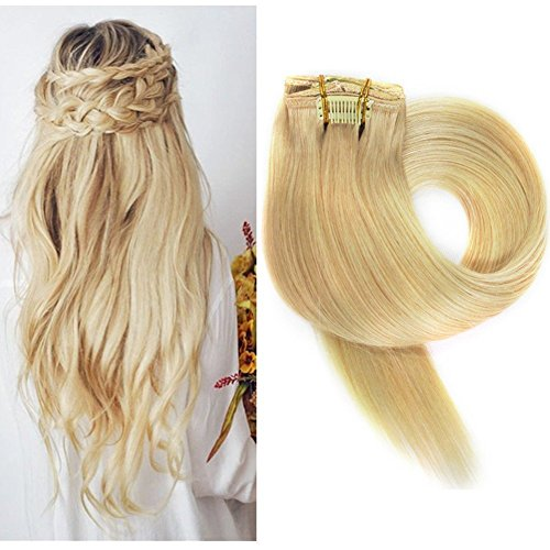 Clip in Haarverlängerung Set Echthaar Remy Haar Echthaar Clip in Extensions Blond Braun Schwarz