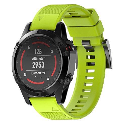 JiaMeng Correas para Garmin Fenix 5 Reloj GPS de Pulsera de Silicagel Correa de Banda de instalación rápida(Verde)