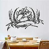 Qbbes Pane Food Illustrazione Adesivi Murali Nero Graphic Stickers Murali Cucina Bagno Soggiorno Camera Home Decor Pvc Room Decor 58X38Cm