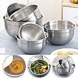 Gracorgzjs 304 Edelstahl Eiermehl Rührschüssel Küche Salatbehälter mit Waage, Silber, 22 cm