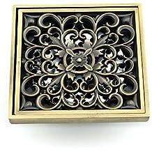 Owfeel Tapa de desagüe de ducha con filtro extraíble, latón, diseño hueco, flor