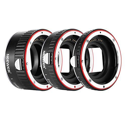 Neewer Metall Autofokus AF-Makro-Verlängerungsrohrsatz 13mm, 21mm, 31mm für Canon EF EF-S-Objektiv-DSLR-Kameras, wie 7D Mark II, 5D Mark II, IV, 1300D, 1200D, 1100D, 750D, 700D