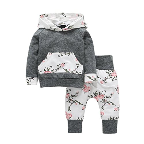 Babykleidung Longra 2pcs Kleinkind-Säuglingsbaby Mädchen Kleidungs Langarm gesetzte Blumen Hoodie Tops + Hosen Outfits(0-24Monate) (70CM 6Monate, Gray)