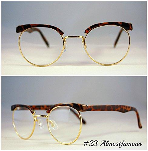 Retro Augenbrauen Schildkröte Retro Geek Vintage Wayfarer Nerd Rahmen Fashion Schwarz Rund Klar Gläsern