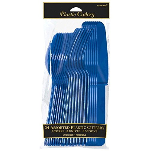 Amscan International Cutlery (Navy Flag Blue, Pack of 24)